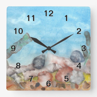 Shells Under The Sea. Square Wall Clock