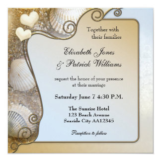 Shells & Waves Beach Wedding Invitation