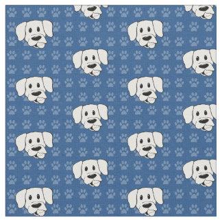 Shelter Dog cartoon labrador blue pawprints fabric
