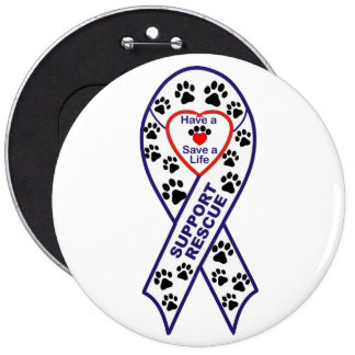 Shelter Pet Rescue Ribbon Button Pin
