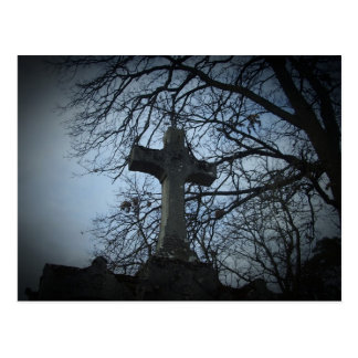 Sheltered cross grave postcard