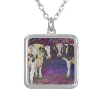 Sheltering cows 2011 silver plated necklace
