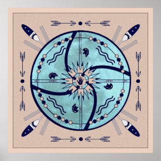 Sheltering Moon Native Symbol Mandala Poster Print