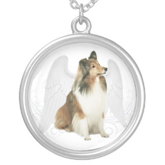 Sheltie Angel Silver Plated Necklace