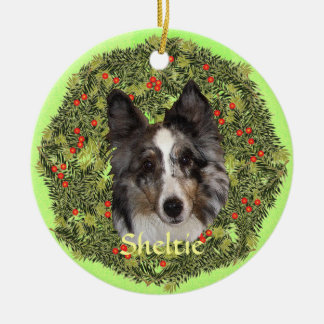Sheltie Art Ceramic Ornament
