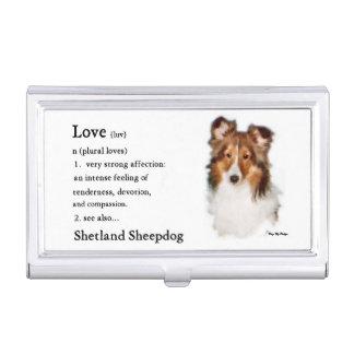 Sheltie Art Love Is Business Card Holders