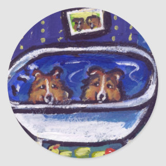 Sheltie bathtime classic round sticker
