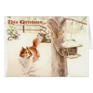 Sheltie Chasing Squirrel Christmas Card