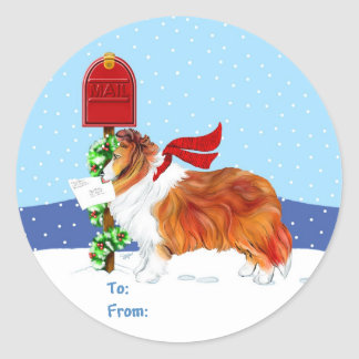 Sheltie Christmas Mail Sable Gift Tags Round Sticker