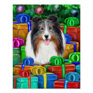 Sheltie Christmas Open Gifts Blue Merle Poster