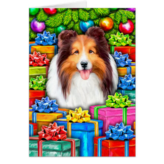 Sheltie Christmas Open Gifts Card