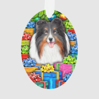 Sheltie Christmas Open Gifts Tri color Ornament