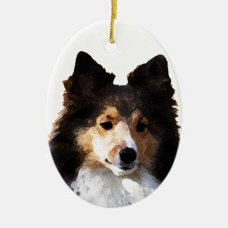 Sheltie Dog painting sketch Ceramic Oval Ornament