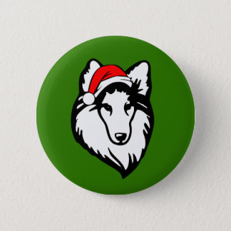 Sheltie Dog with Christmas Santa Hat 2 Inch Round Button