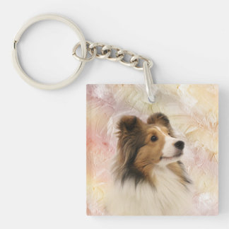 Sheltie face keychain