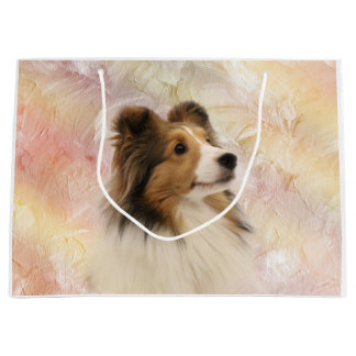 Sheltie face large gift bag