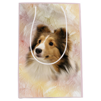 Sheltie face medium gift bag