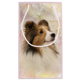 Sheltie face small gift bag
