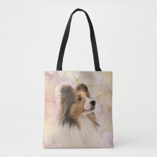 Sheltie face tote bag