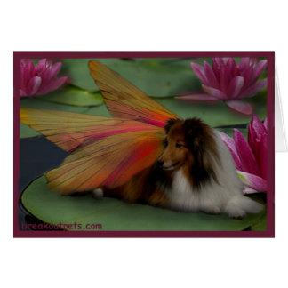 Sheltie Fairy on a Lily Pad. w Border psd Card
