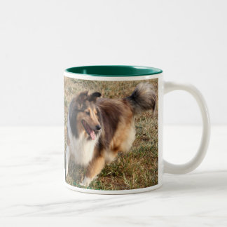 SHELTIE HAVING FUN Two-Tone COFFEE MUG