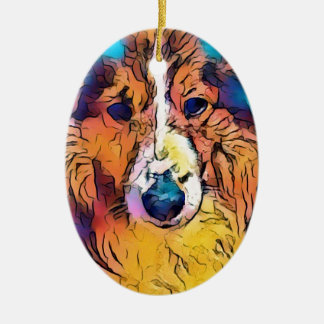 Sheltie image ceramic ornament