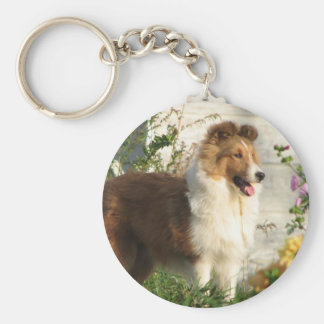 Sheltie in flowers keychain
