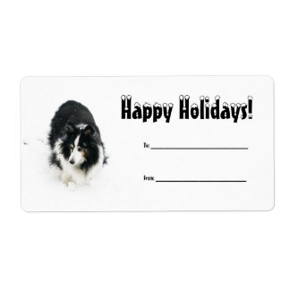 Sheltie in Snow Holiday Label Shipping Label