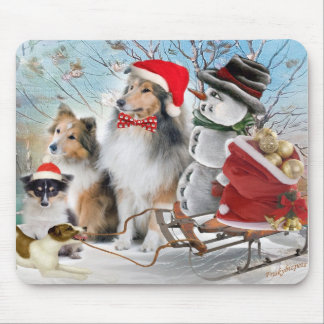 Sheltie, Jack Russell and Snowman Holiday Gifts Mouse Pad