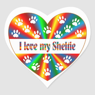 Sheltie Love Heart Sticker