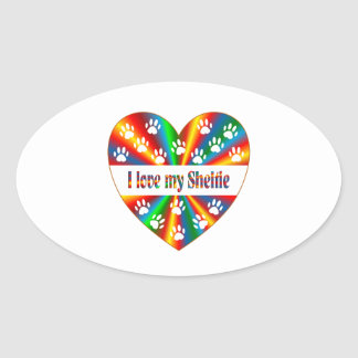 Sheltie Love Oval Sticker