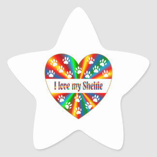 Sheltie Love Star Sticker