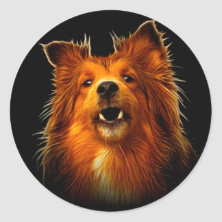 Sheltie Modern Dog Art Classic Round Sticker