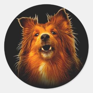 Sheltie Modern Dog Art Round Sticker
