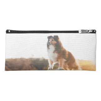 Sheltie on Cliff protecting heard during sunset Pencil Case