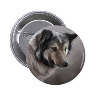 Sheltie Painting 2 Inch Round Button