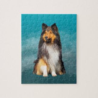 Sheltie Shetland Sheepdog Art Portrait Jigsaw Puzzle
