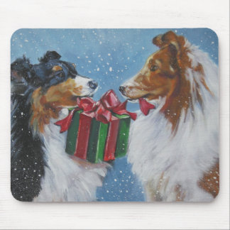 sheltie shetland sheepdog christmas mousepad