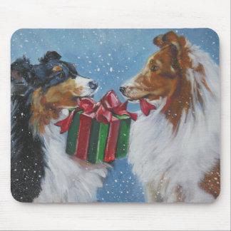 sheltie shetland sheepdog christmas mousepad