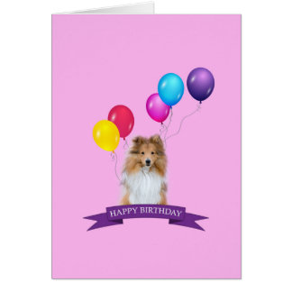 Sheltie Shetland Sheepdog Happy Birthday Card