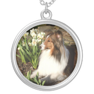 Sheltie Spring Silver Plated Necklace
