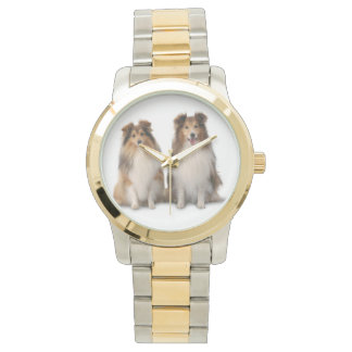 Sheltie Two-Tone Watch, Gold and Silver Tone Watch
