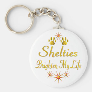Shelties Brighten My Life Keychain