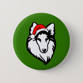 shelties Dog with Christmas Santa Hat 2 Inch Round Button