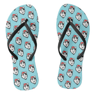 shelties Dog with Christmas Santa Hat Pattern Flip Flops