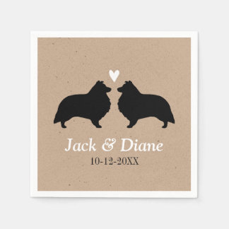 Shelties Wedding Couple with Custom Text Paper Napkins