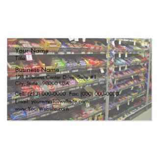 Shelves of chocolate bars in store pack of standard business cards