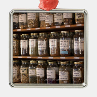 Shelves of herb jars Silver-Colored square ornament