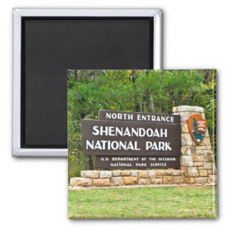 Shenandoah National Park North Entrance Sign Square Magnet