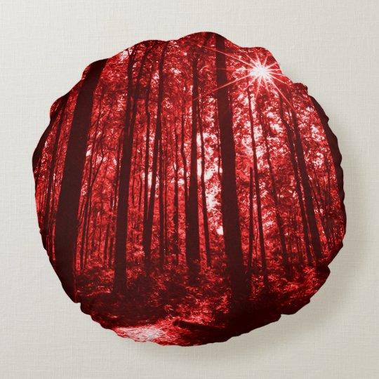 Shenandoah Red Round Pillow